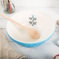 Personalised Blue Mixing Bowl - Bake What You Love - Bowl Gifts