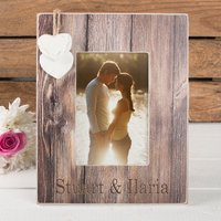 Personalised Distressed Wood Photo Frame - Names - Wood Gifts