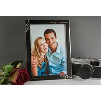 Engraved Silver Plated Photo Frame With Diamanté Pattern - Large - Personalised Gifts Gifts