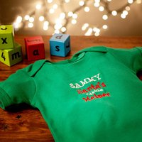 Personalised Green Organic Cotton Baby Grow - Santa's Little Helper - Babygrow Gifts