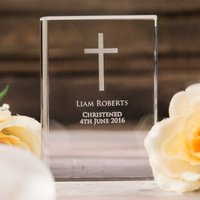 Engraved Optic Glass Book - Cross - Book Gifts