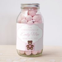Personalised Jar of Strawberry Bonbons - Christening Teddy Bear - Teddy Bear Gifts