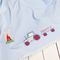 Personalised Tractor Fleece Blanket - Blue - Tractor Gifts