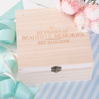 Personalised Storage Box - 10 Years Of Beautiful Memories - Memories Gifts