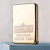 Engraved Gold Lighter - Retired Police Officer - Lighter Gifts