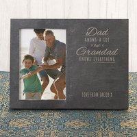 Engraved Slate Chalkboard Photo Frame - Dad Knows A Lot But Grandad Knows Everything - Grandad Gifts