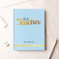 Personalised Notebook - Best Teacher, Blue - Teacher Gifts
