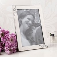 Engraved Silver Plated Photo Frame With Diamanté Pattern - Photo Frame Gifts