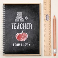 Personalised Notebook - A+ Teacher - Teacher Gifts