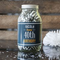 Personalised Jar Of Humbug Sweets - Happy 40th - 40th Gifts
