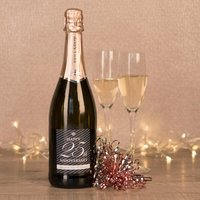 Personalised Prosecco - Happy 25th Anniversary - Silver Wedding Anniversary Gifts
