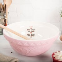 Personalised Pink Mixing Bowl - Bake What You Love - Bowl Gifts