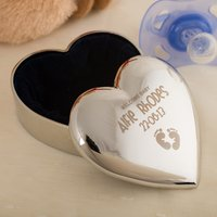 Engraved Silver Plated Heart Trinket Box - Welcome Baby