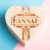 Personalised Wooden Heart Art Deco Ring Holder - Ring Gifts
