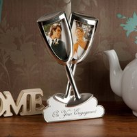Silver-Plated Engagement Champagne Photo Frame