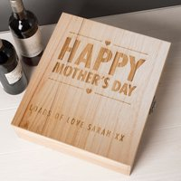 Personalised 3 Bottle Luxury Wooden Wine Box - Happy Mother's Day Hearts