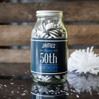 Personalised Jar Of Humbug Sweets - Happy 50th - 50th Gifts