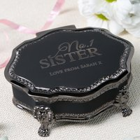 Personalised Black Vintage Jewellery Box - No.1 Sister - Sister Gifts