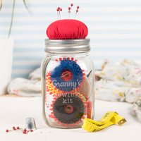 Personalised Mason Jar Sewing Kit - Sewing Gifts