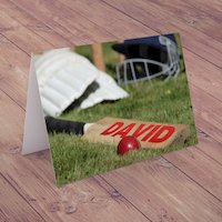Personalised Card - Cricket Ball - Cricket Gifts