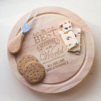Personalised Wooden Cheeseboard Set - Best Grandma in the Whole World - Grandma Gifts