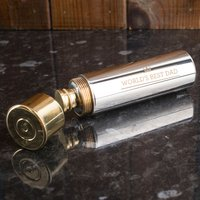 Personalised Stainless Steel Gun Cartridge Hip Flask - World's Best - Gun Gifts