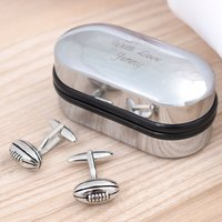 Rugby Cufflinks In Personalised Box - Rugby Gifts