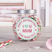 Personalised Candy Canes Jar - I Heart U Mum - Candy Gifts