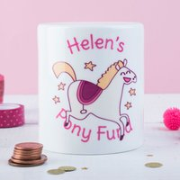 Personalised Ceramic Money Box - Pony Fund - Money Box Gifts