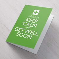 Image of Personalised Card - Keep Calm And Get Well Soon