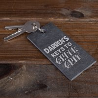 Engraved Slate Key Ring - Keys To My Super Suit - Key Ring Gifts