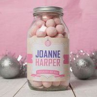 Personalised Jar Of Strawberry Bonbons - Snowflakes - Strawberry Gifts