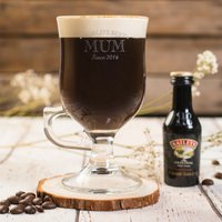 Personalised Irish Coffee Glass With Baileys Miniature - The World's Best - Baileys Gifts