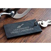 Personalised Slate Key Ring - Head Gardener - Key Ring Gifts