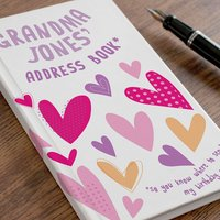 Personalised Address Book - Grandma's Hearts - Book Gifts