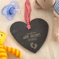Engraved Heart Shaped Slate Hanging Keepsake - Welcome Baby