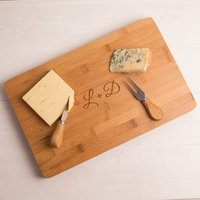 Personalised Large Rectangular Wooden Cheese Board - Couple's Initials - Cheese Board Gifts