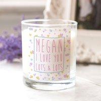 Personalised Scented Candle - Colourful Hearts - Candle Gifts