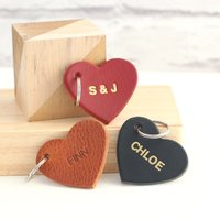 Embossed Posh Totty Designs Leather Heart Key Ring - Key Ring Gifts