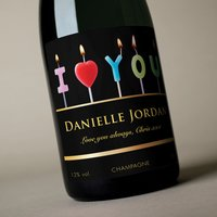 Luxury Personalised Champagne - I Love You Candles