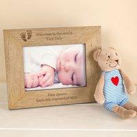 Personalised Wooden Photo Frame - Babys Footprints