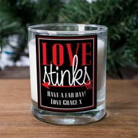 Personalised Scented Candle - Love Stinks - Candle Gifts