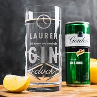 Engraved Crystal Highball Glass With Gordon's G&T Mixer - Gin O'Clock - Gin Gifts