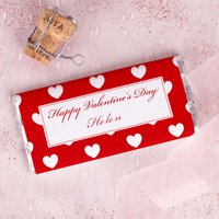 Personalised Chocolate Bar - Valentines Hearts - Valentines Day Gifts