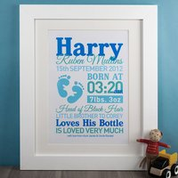 Personalised Baby Boy Print - Baby Boy Gifts