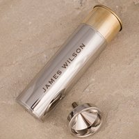 Personalised Stainless Steel Gun Cartridge Hip Flask - Name - Gun Gifts