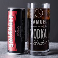 Engraved Crystal Highball Glass With Smirnoff™ Mixer - Vodka O'Clock - Smirnoff Gifts