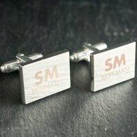 Engraved Rectangle Cufflinks - Best Man - Cufflinks Gifts