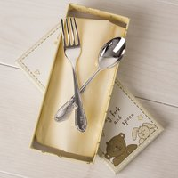 Engraved Button Corner Silver Plated Fork and Spoon Set - Personalised Gifts Gifts