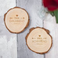Wooden Tree Carving Coasters - The Boyfriend, The Girlfriend - Girlfriend Gifts